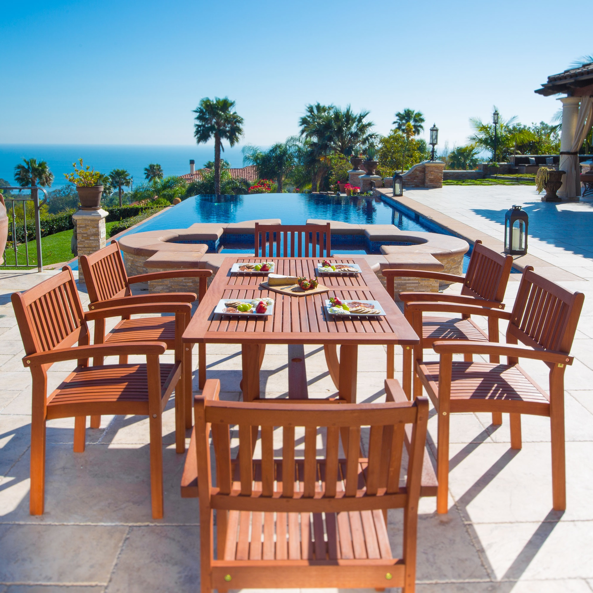 Malibu Eco-Friendly 7-Piece Wood Outdoor Dining Set with Rectangular Curvy Table and Stacking Chairs V187SET4