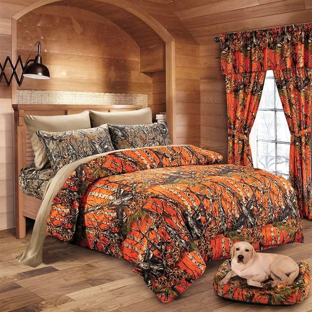 Orange Camo Comforter and Camo Sheet Set [Color: Orange/Forest,Size: King]