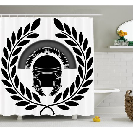 Toga Party Shower Curtain, Ancient Greek Figure Classic Mythological Hero Fighter Illustration Print, Fabric Bathroom Set with Hooks, Black and White, by - Greek Togas