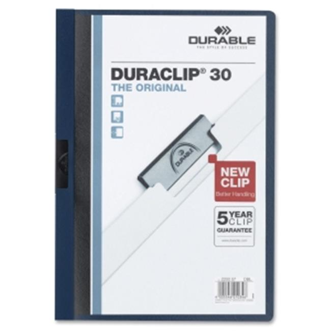 Durable Office Products 220328 Vinyl Duraclip Report Cover, Clear & Navy