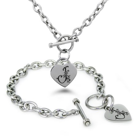 Stainless Steel Letter J Initial Floral Box Monogram Engraved Heart Charm Bracelet, Necklace, or Set - Letter Bracelets