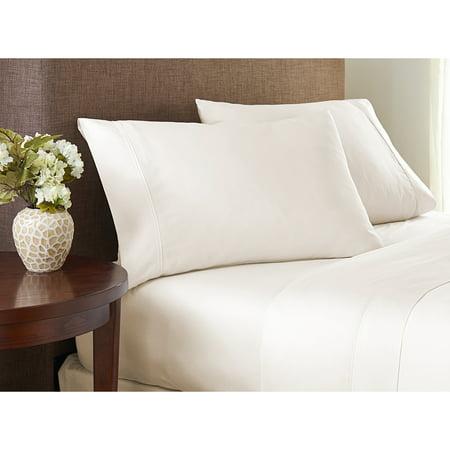 Color Sense 400 Thread Count Cotton Sheet Set Cool & Crisp Queen White (Comfy Bed Sheets Queen Cotton)