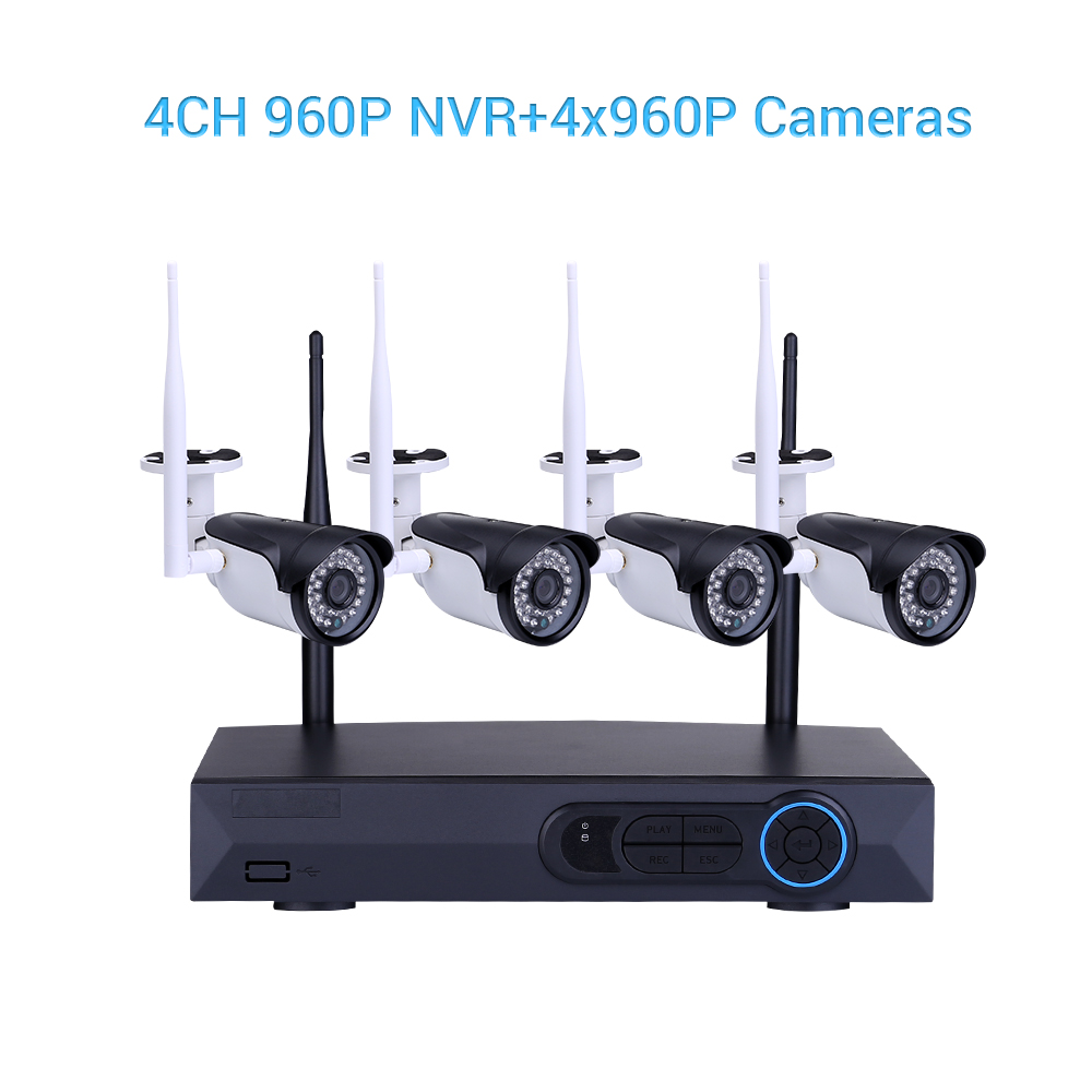 Masione CCTV 4CH 960P HD NVR Wireless Video Security Camera 4PCS 1.3MP WiFi IP Cameras Home Business Surveillance Network System Night Vision Waterproof Outdoor Indoor