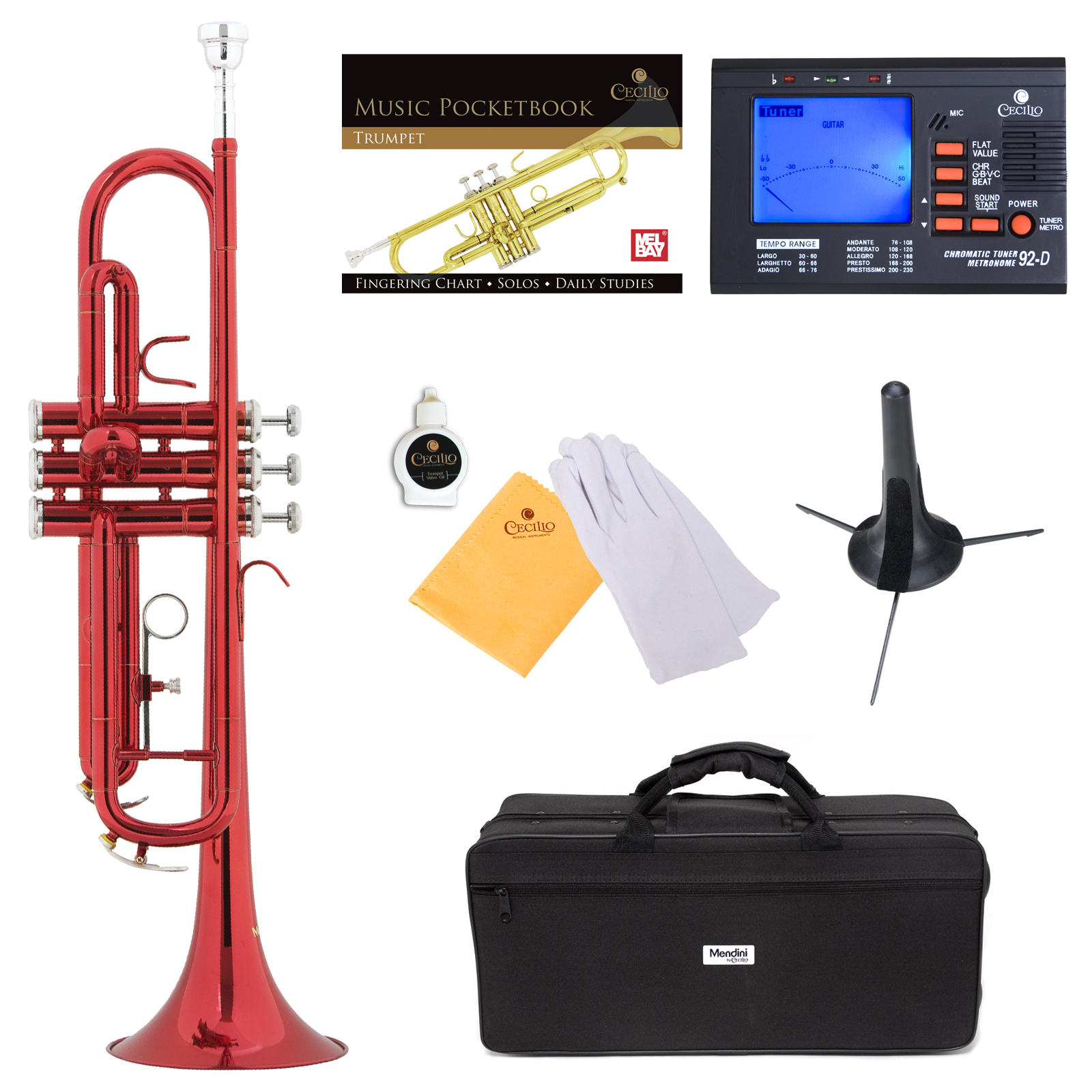 Mendini by Cecilio Bb Trumpet w/Tuner, Stand, Pocketbook, Deluxe Case and 1 Year Warranty, Red Lacquer MTT-RL+SD+PB+92D
