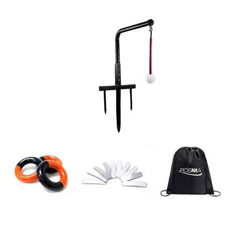 POSMA ST080C Metal Golf Swing Trainer Club Champ Swing Groover and Weight Power Swing Ring Red and (Electronic Swing Groover)