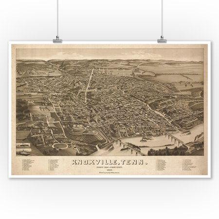 Knoxville, Tennesseee - (1886) - Panoramic Map (9x12 Art Print, Wall Decor Travel Poster)