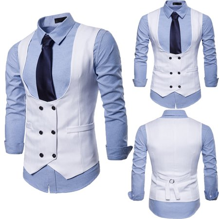 Men's Vintage Formal Double Breasted Luxury Waistcoat U Cut Slim Fit Vest White M