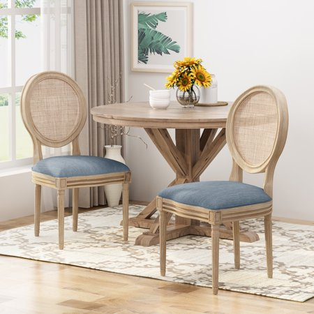 Camilo Wooden Dining Chair with Wicker and Fabric Seating (Set of 2), Light Blue and Natural ()