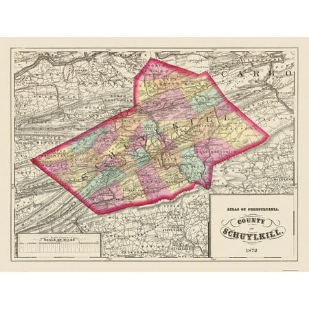 Old County Map   Schuylkill Pennsylvania   1872   30 19 X 23