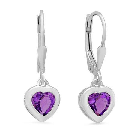 February Birthstone Lever Back Earrings - Sterling Silver Amethyst Heart Lever-Back Earrings