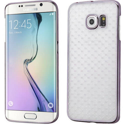 Samsung Galaxy S6 Edge MyBat T-Clear Plaid Cross Back Protector Cover with Black-Plating Frame