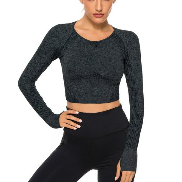best sportswear for gym : FITTOO Women's Long Sleeve Gym Yoga Sports Crop Top Seamless T-shirt Fitness Sport Tshirt Workout Tops For Women Sportswear