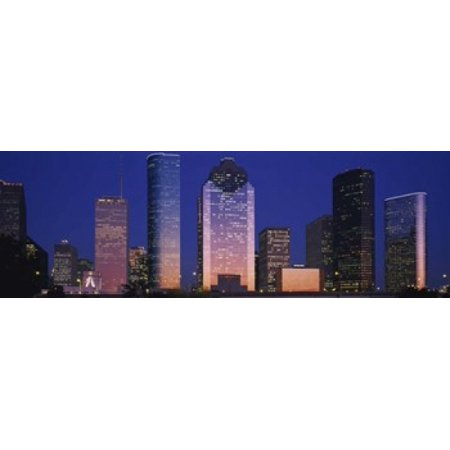 Skyscrapers lit up at night Houston Texas USA Poster Print