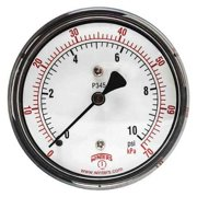 WINTERS PLP345 Low Pressure Gauge, Back,0 to 10 psi