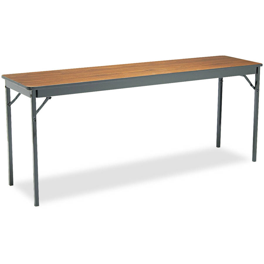 "Barricks Special Size Folding Table, Rectangular, 72"" x 18"" x 30"", Walnut/Black"