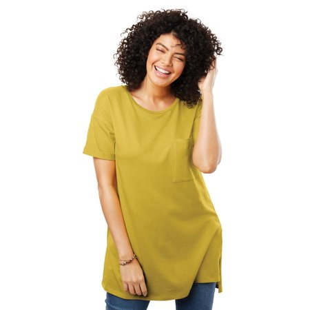 857db69bd Woman Within - Plus Size Short-sleeve Crewneck Longer Length Tee -  Walmart.com