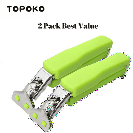 TOPOKO Stainless Steel Retriever Tongs / Gripper Clip for Hot and Cold Plate, Bowl, Dish, Tray. Perfect Accessory for Retrieve from Instant Pot, Microwave, Oven, Pot. Green Color Two Pack