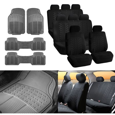 FH Group 3 Row SUV Van Seat Covers Black Combo w/ Gray Floor (Best Selling 3 Row Suv)