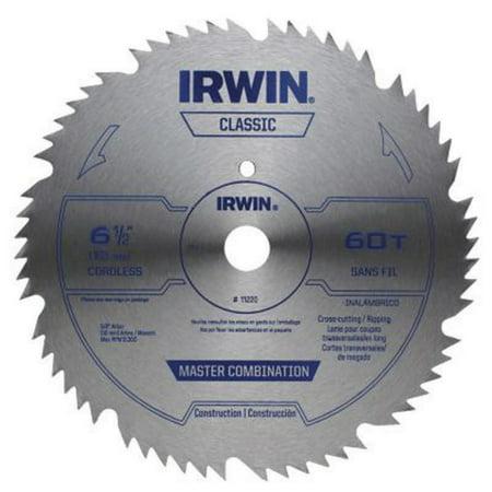 Irwin 11220 Combination Circular Saw Blade, 6-1/2 in Dia, 60 Teeth, 5/8 in