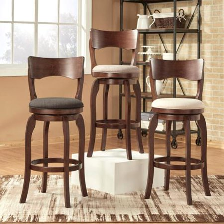 Inspire Q Lyla Swivel 29 Inch Brown Oak High Back Bar Ight Linen Barstool By