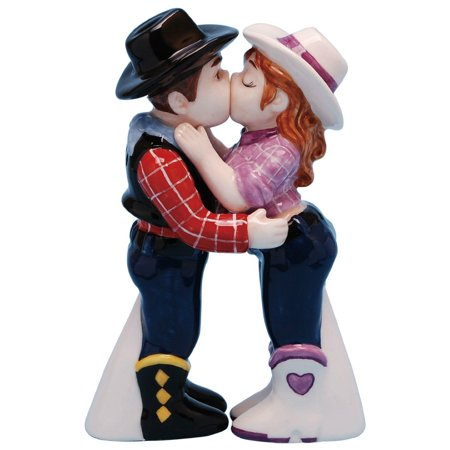 Mwah! Cowboy and Cowgirl Magnetic Ceramic Salt & Pepper Shaker Set, Multicolor, Shaker set is 4 tall By Westland Giftware from USA](Cowboy And Cowgirl)