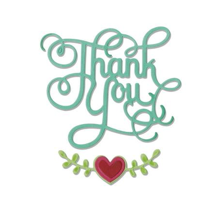 Sizzix Thinlits Dies   Phrase  Thank You W Hearts By Jen Long