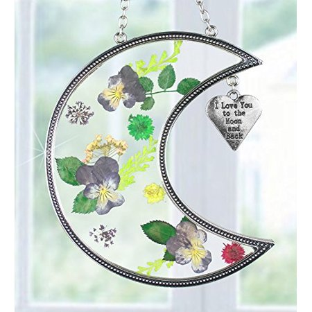 I Love You to the Moon and Back Suncatcher with Real Pressed Flowers in Glass and Silver Metal Heart Shaped Engraved Charm - Gift for a Loved One Wife Girlfriend Fiance - Heart Shaped Glasses
