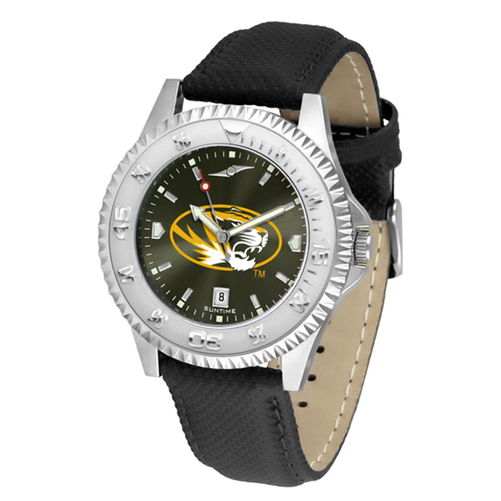 "Missouri Tigers NCAA Anochrome ""Competitor"" Mens Watch (Poly/Leather Band)"