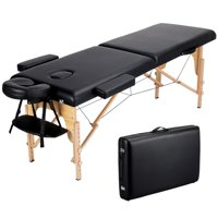 Portable Wooden 2 Sections Massage Table Folding Massage Bed Couch with Headrest/Armrest/Hand Pallet