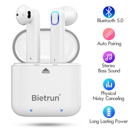 Upgraded Bluetooth 5.0 Wireless Earbuds, Bluetooth Headphones with Deep Bass HiFi 3D Stereo Sound, Built-in Mic Earphones with Portable Charging Case for Smartphones and Laptops (Earbuds With Best Bass Sound)