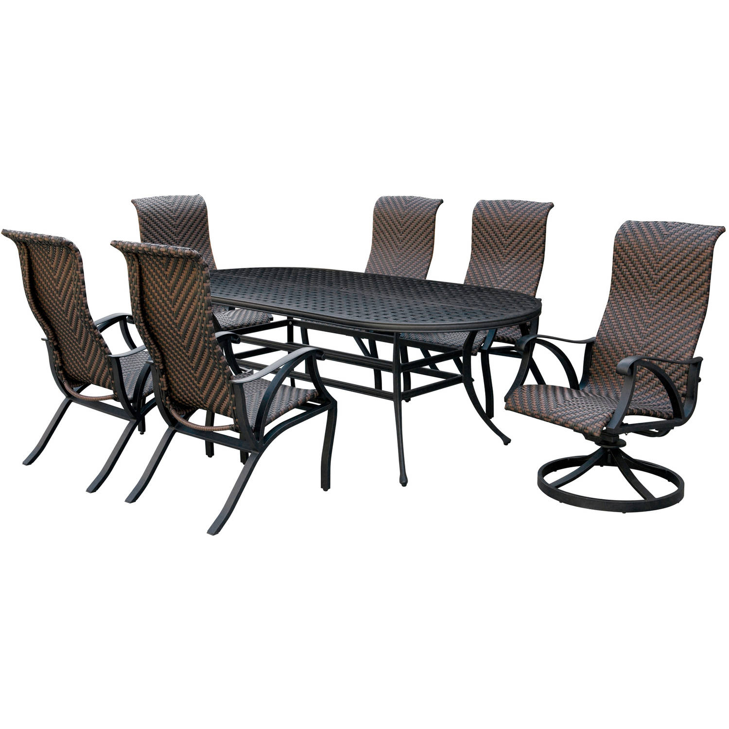 Furniture of America Trevie II Oval 7-Piece Patio Dining Room Set, Dark Bronze by Furniture of America