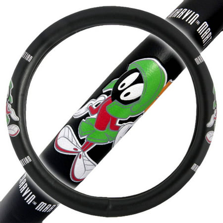 Marvin the Martian Car Steering Wheel Cover, Comfort Grip Character Accessories, Standard Size 14.5
