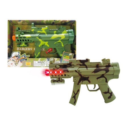 Mozlly Mozlly Light Up Military Friction Combat Force Vibrations Camouflage Action Gun with Sounds Dress Up Cosplay Costume Accessories Pretend Play Minigun Ideal Gift Toys Games 11.5 Inch Colors May - Toy Gun With Sound