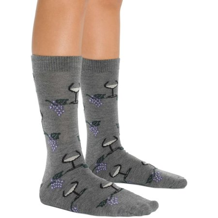 Mens Comfortable Merino Wool Socks Wine Glass and Grape Design 3 Color Options Color: