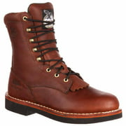 """Georgia Men's 8"""" Brown Farm And Ranch Lace Up Lacer Work Boots G7014"""