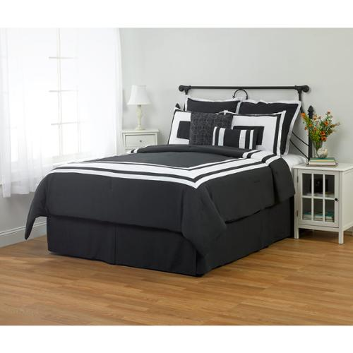 Color Block Down Alternative Comforter Set, Black, Full