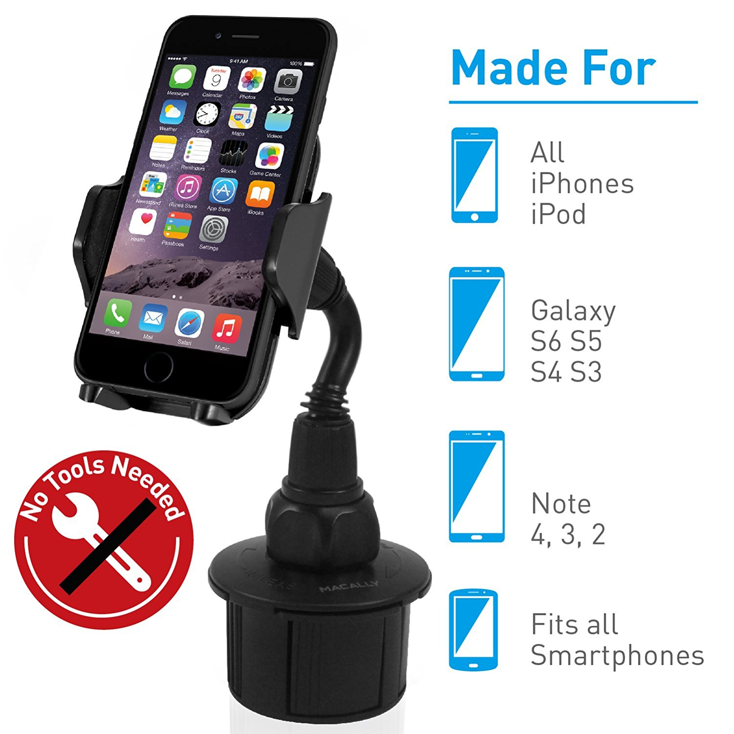 hot sale online 42791 c4e5f Macally Car Cell Phone Cup Holder Mount for Apple iPhone XS XS Max XR X 8  8+ 7 7 Plus 6s 6 5s SE, Samsung S9 S9+ Note 8 Galaxy S8/S8+, LG, Nexus, ...