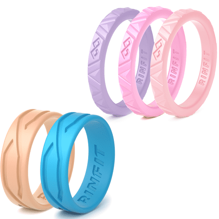stackable silicone rings for women - 5 Rings Pack - Mix Collection Rinfit Designed Ring. Thin 2.5 / 5.5 mm wide -Thin rubber Wedding Bands for women. Durable wedding ring replacement. size 5 ()