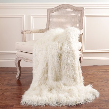 Best Home Fashion Faux Mongolian Lamb Fur Throw