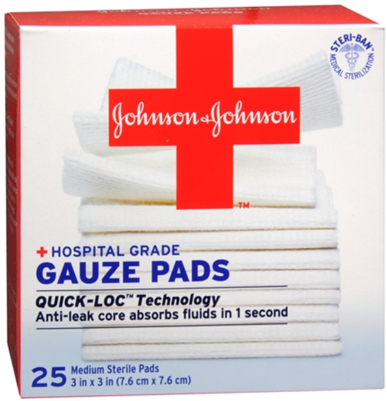 JOHNSON & JOHNSON Red Cross First Aid Gauze Pads 3 Inches X 3 Inches 25 Each (Pack of 4)