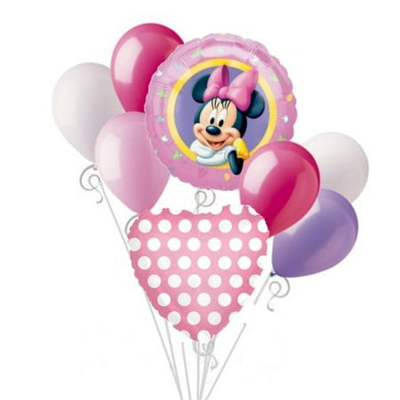Minnie Mouse Balloon Bouquet Set Birthday Baby Shower Party Decoration 8pcs (Mini Mouse Birthday)