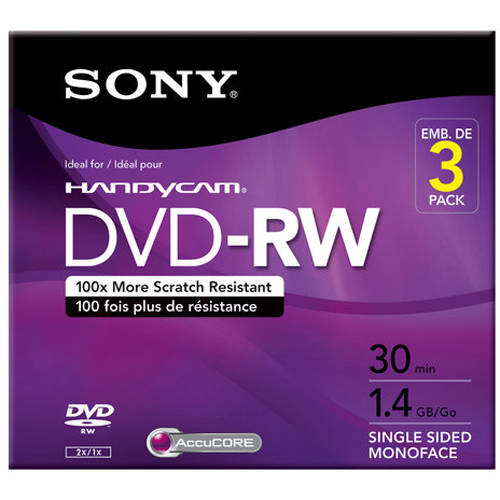 Sony 3-Pack DVD-RW with Hangtab