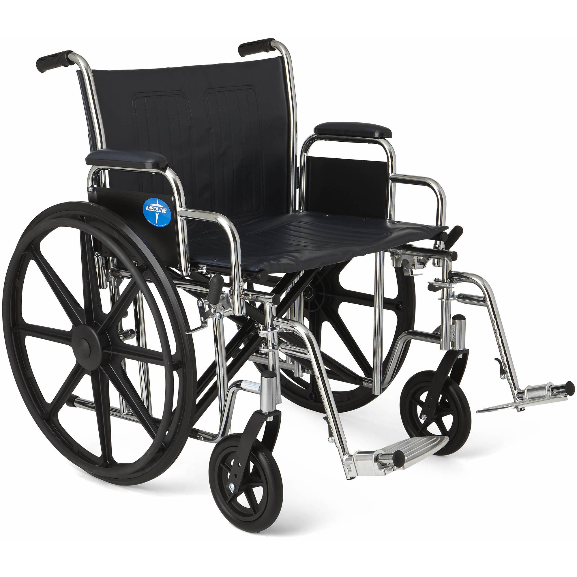 "Medline Excel Extra-Wide Wheelchair, 24"" Wide Seat, Desk-Length Removable Arms, Swing Away Footrests"