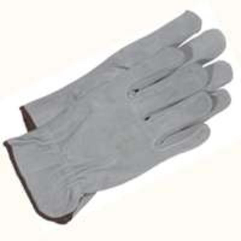 GLOVES GREY SPLIT LEATHER M