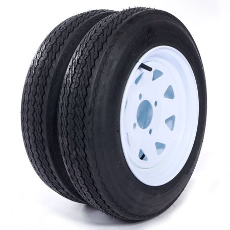 - Two Trailer Tires On Rims 4.80-12 480-12 4.80 X 12 LRB 4Lug Wheel White Spoke