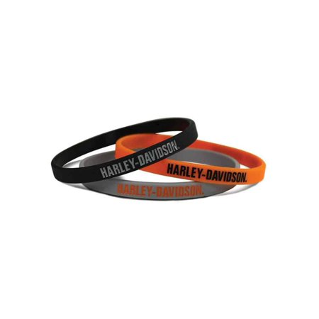 Plastic Wristbands Variety Pack (Harley-Davidson H-D Script Silicone Wristbands, 3 Pack Black/Orange/Gray WB51664, Harley)