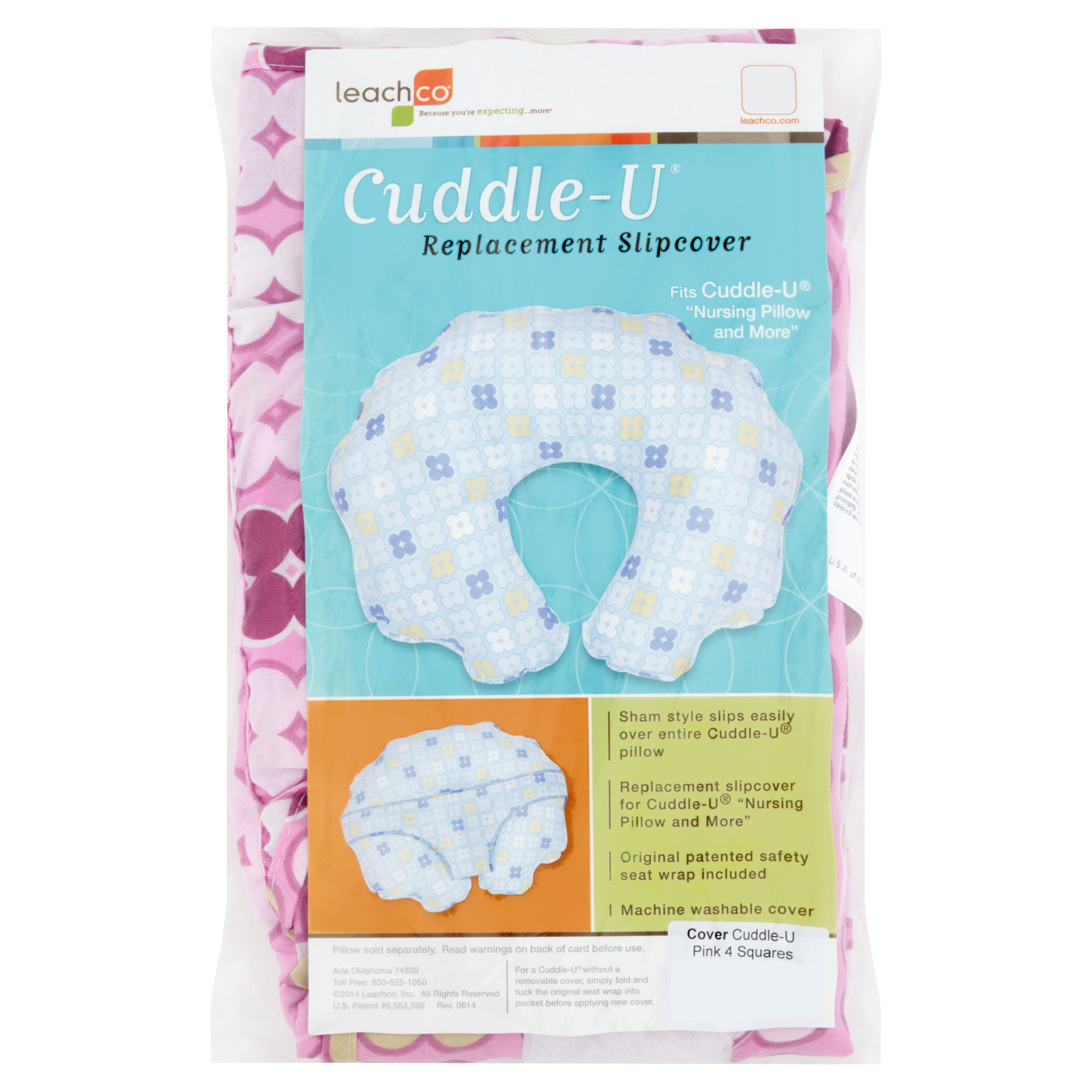 Leachco Cuddle-U Nursing Pillow Replacement Slipcover Pink 4 Squares