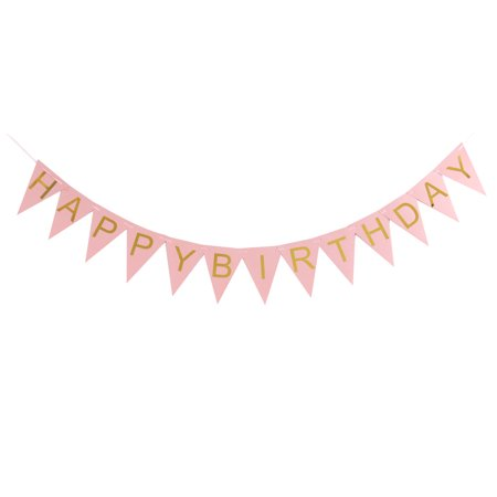 HAPPY BIRTHDAY Letter Print Triangle Shaped Party Decor Photo Prop Banner - Printed Banners