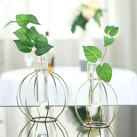 BalsaCircle 2 Gold Metal Geometric Round Flasks with Clear Glass Tubes Flower Vase Holders Wedding Party Event Home Centerpieces ()
