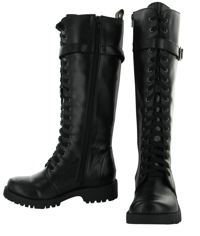 29e6d1f014c Volatile Combat Women's Boots Knee High Faux Leather Vegan Shoes